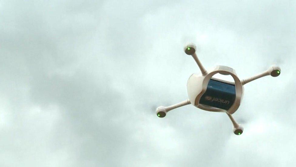 A UNICEF drone in Malawi.