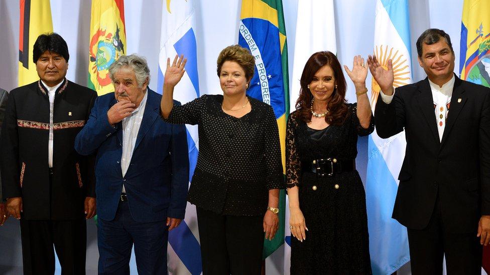 Evo Morales, José Mujica, Dilma Rousseff, Cristina Fernández y Rafael Correa.