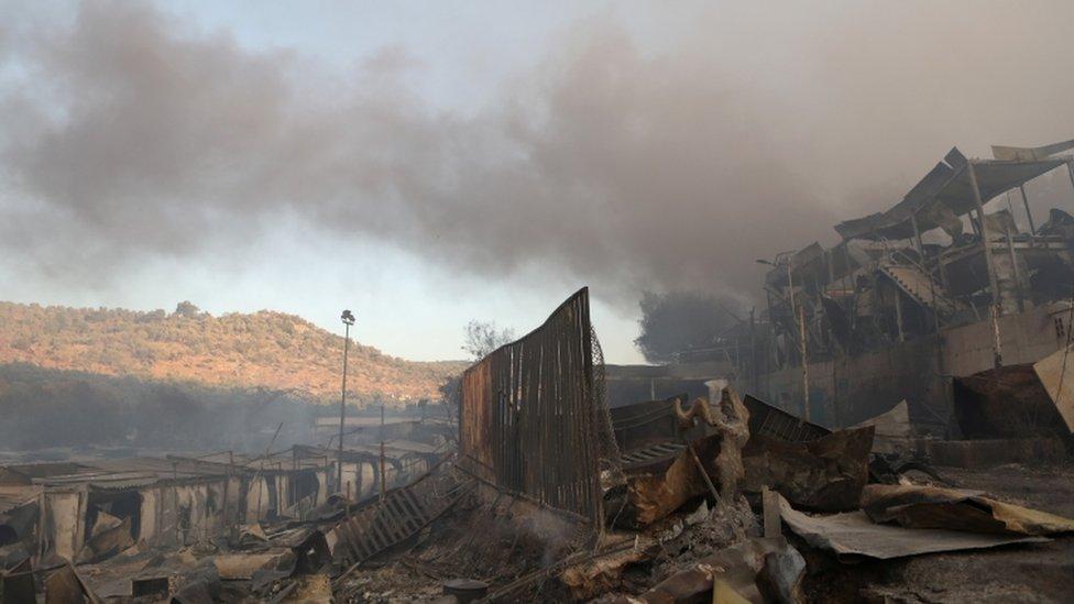 Campamento de refugiados de Moria tras el incendio