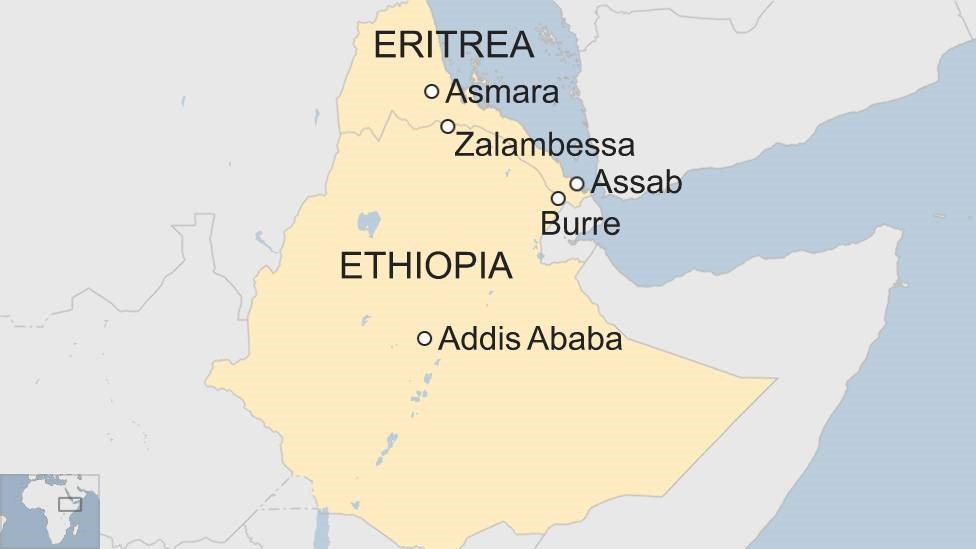 Map showing Ethiopia and Eritrea