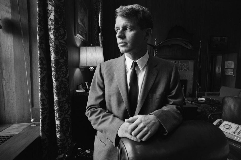 Kennedy in his Department of Justice office in 1964