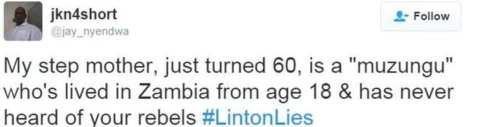 Tweet accusing Linton of getting facts wrong
