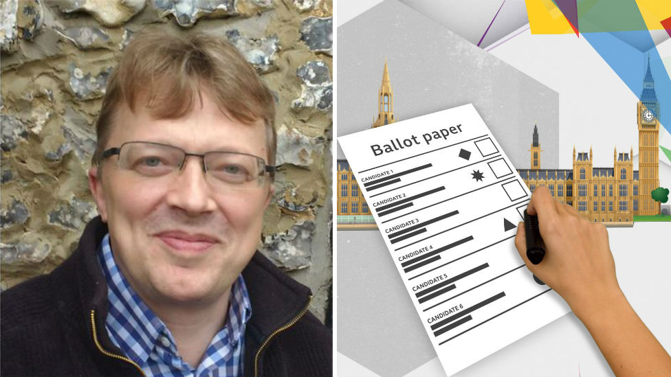 Keith Wood-Smith and a mock up of a ballot paper