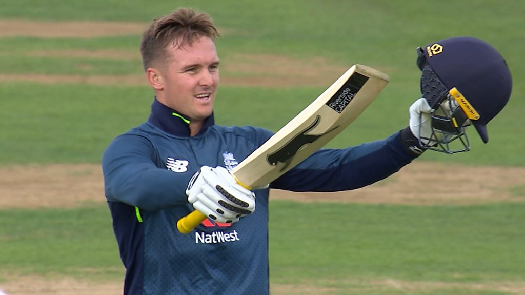 England v Australia: Jason Roy brings up century with a six
