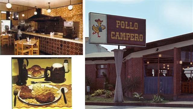 Así era el interior del primer restaurante Pollo Campero y el menú que se servía entonces; junto a la fachada exterior del segundo de sus restaurantes.