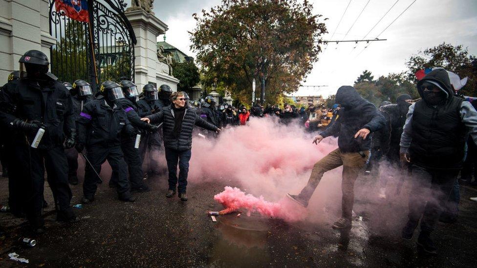 Protesters in Bratislava