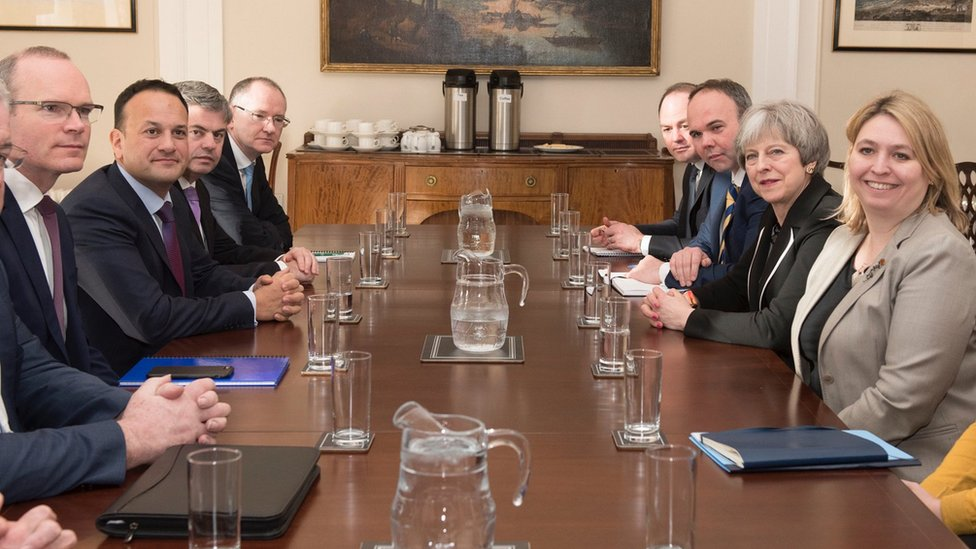 Karen Bradley, alongside Theresa May, meeting Leo Varadkar and Simon Coveney at Stormont House in February 2018