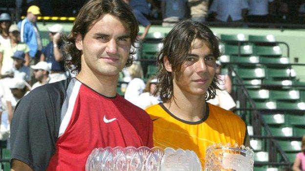 Roger Federer y Rafael Nadal en Miami 2005