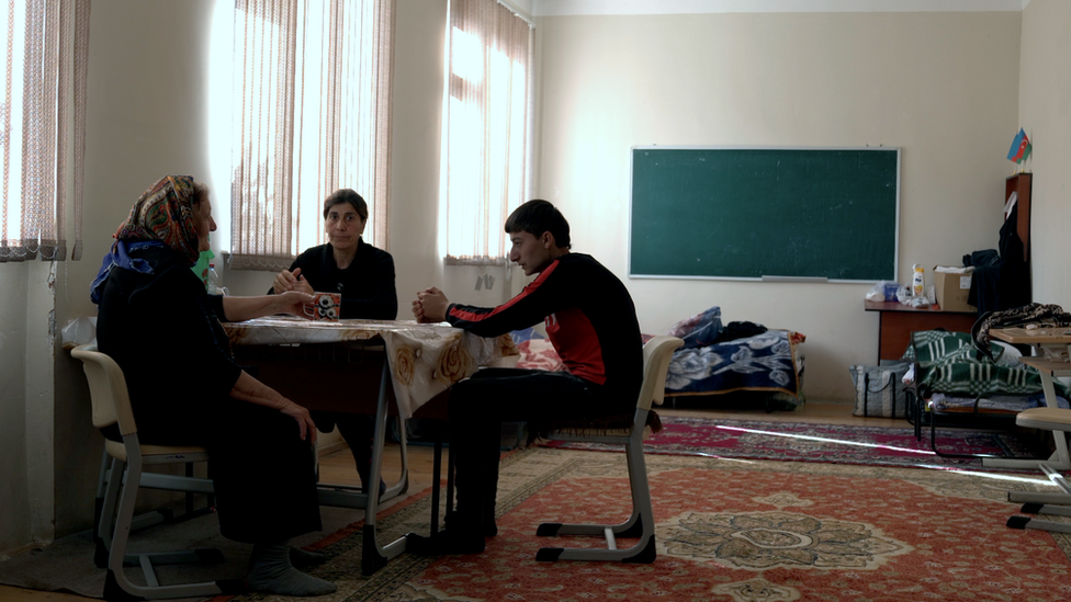 Refugees in a school in Barda