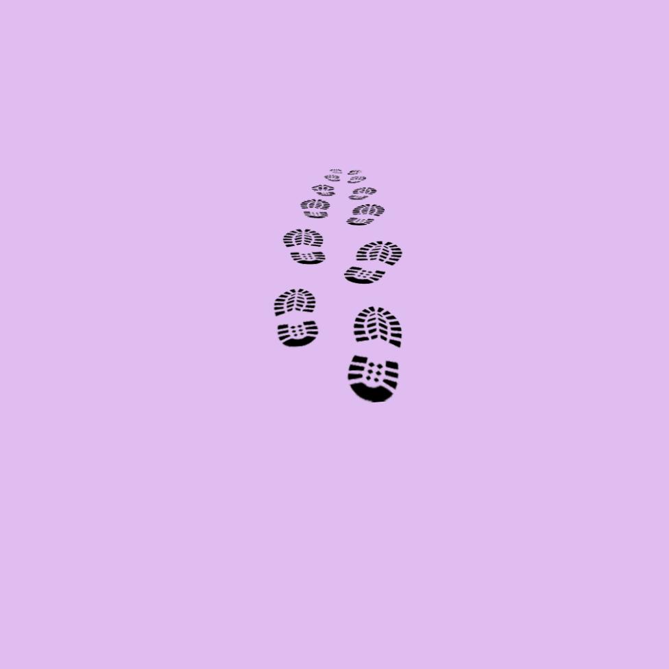 Footprints walking away