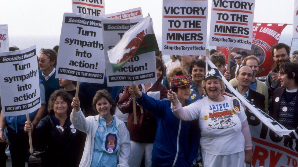 Miners and miners' wives demonstrate at the TUC Conference at Brighton