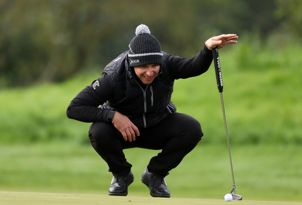 """South Africa""""s Dean Burmester lines up a putt on the 6th during day one of The Irish Open at Galgorm Castle Golf Club, Ballymena on Thursday September 24,"""