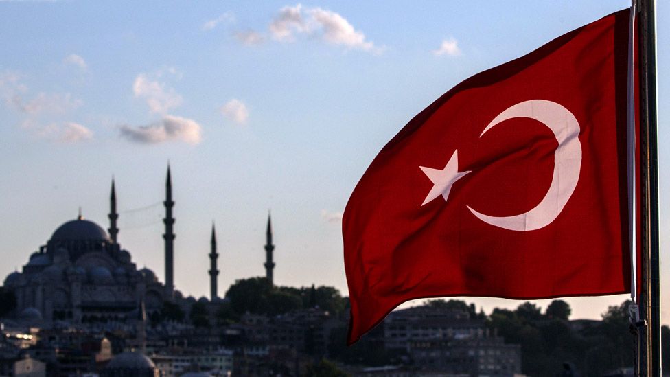 A Turkish flag before the Istanbul skyline