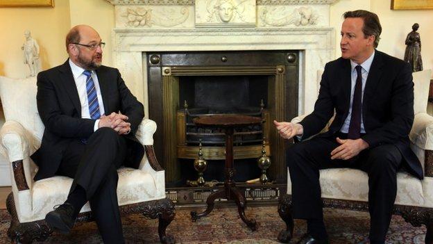 David Cameron (r) meeting European Parliament President Martin Schulz