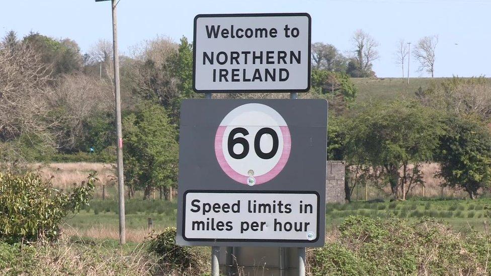 Road sign on Irish border