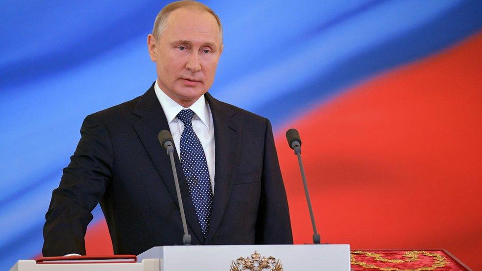 Vladimir Putin being sworn in, at Kremlin ceremony, 7 May 2018