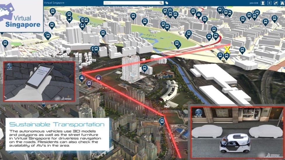 Mapa virtual de Singapur.