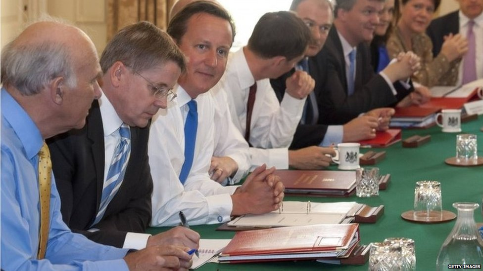 David Cameron chairs a cabinet meeting in 2015