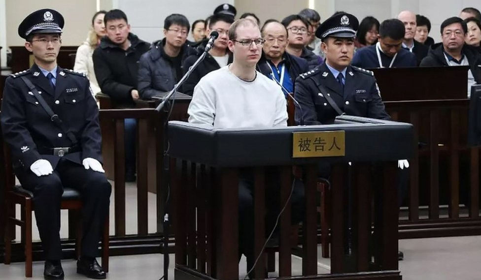Robert Schellenberg during his retrial on drug trafficking charges in the court in Dalian in China's Liaoning province, on 14 January 2019