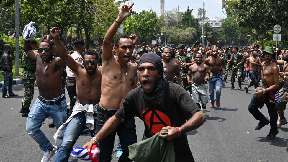 Protestas de papúes en Yakarta