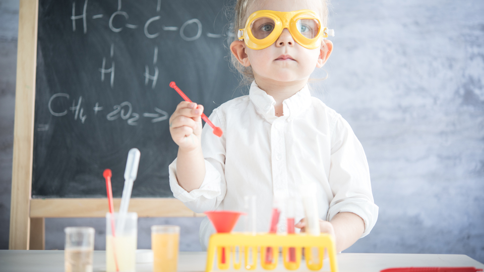 Child doing experiment
