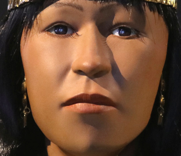 Close-up of replica of The Lady of Cao