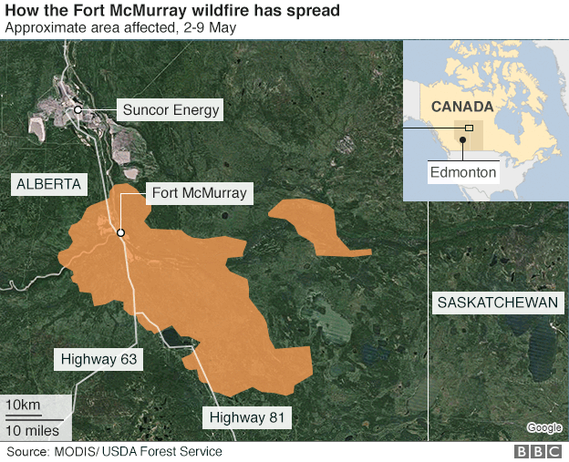 Map showing area affected by wildfire