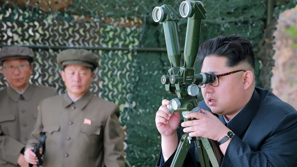 North Korean leader Kim Jong Un guides underwater test-fire of strategic submarine ballistic missile in this undated photo released by KCNA in Pyongyang on April 24, 2016.