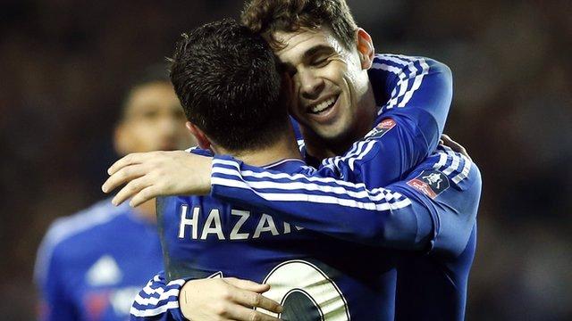 Chelsea's Oscar and Eden Hazard celebrate