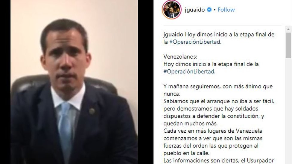Captura de pantalla del video de Juan Guaidó publicado en Instagram.