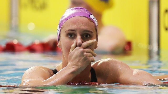 Jazz Carling wins the 400m Freestyle at the 2016 British Swimming Championships.