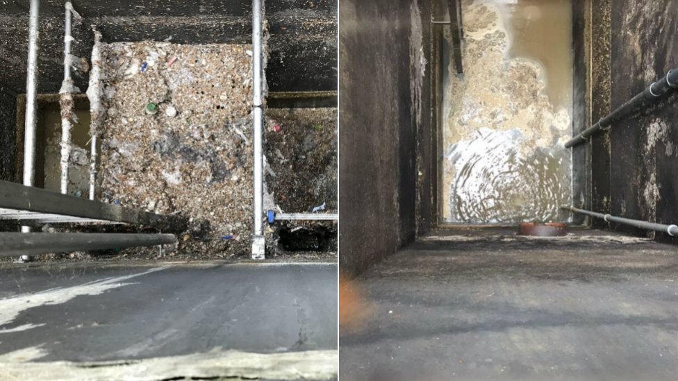 A water treatment tank before and after bacterial treatment.