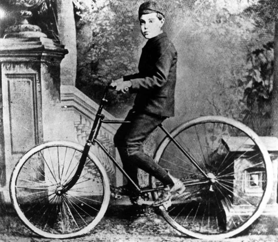 The son of Scottish inventor John Dunlop on the first bicycle to have pneumatic tyres.