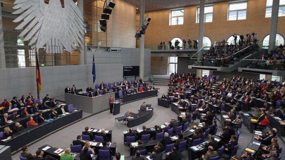 German Chancellor Angela Merkel speaks in the Bundestag