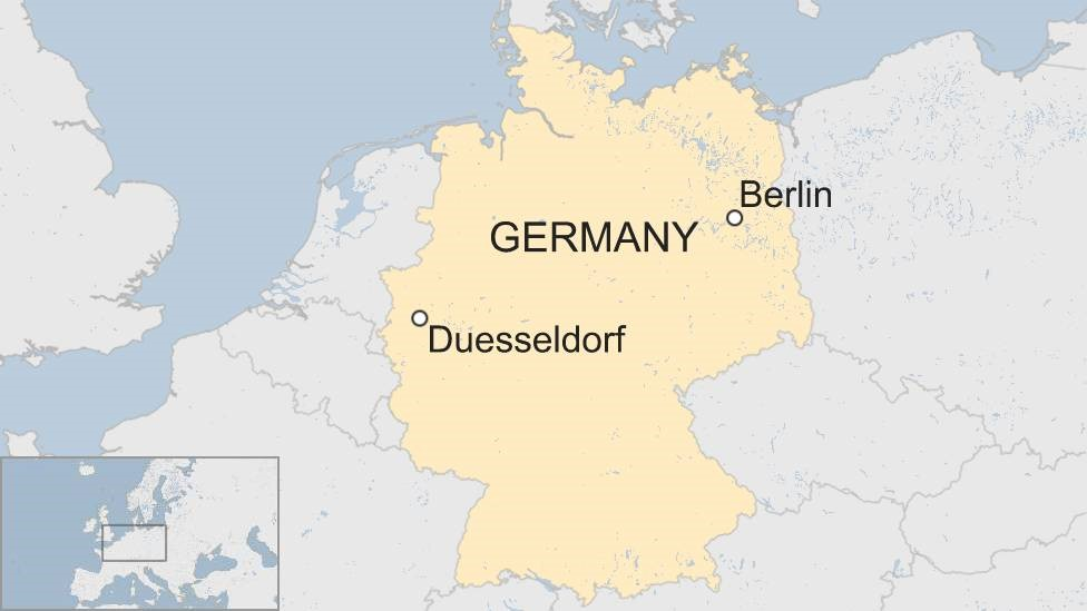 A map showing Duesseldorf in western Germany