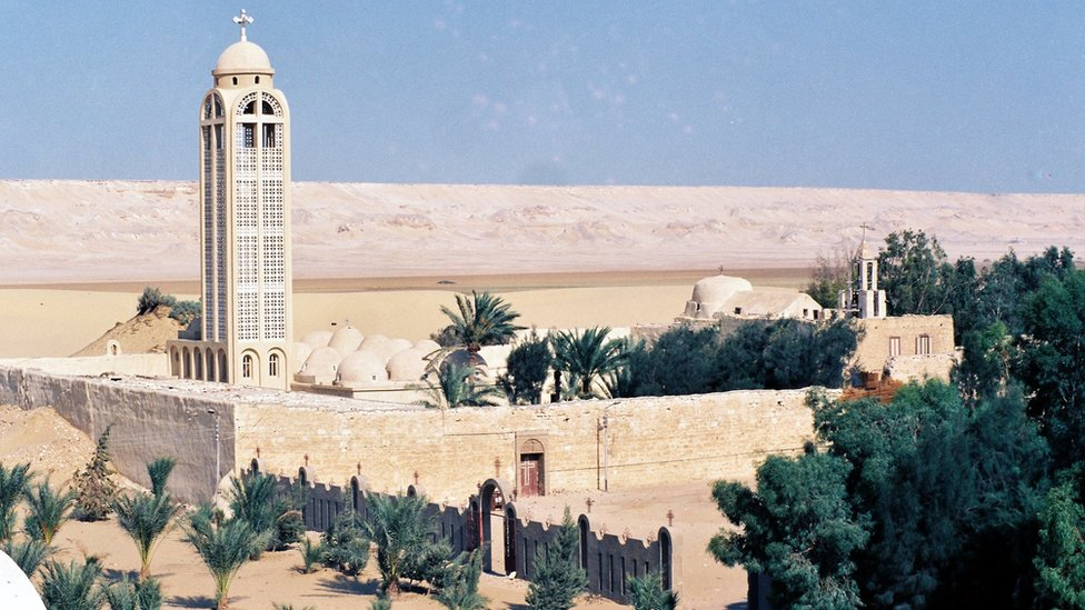 An undated picture shows the Monastery of St Samuel the Confessor in central Egypt