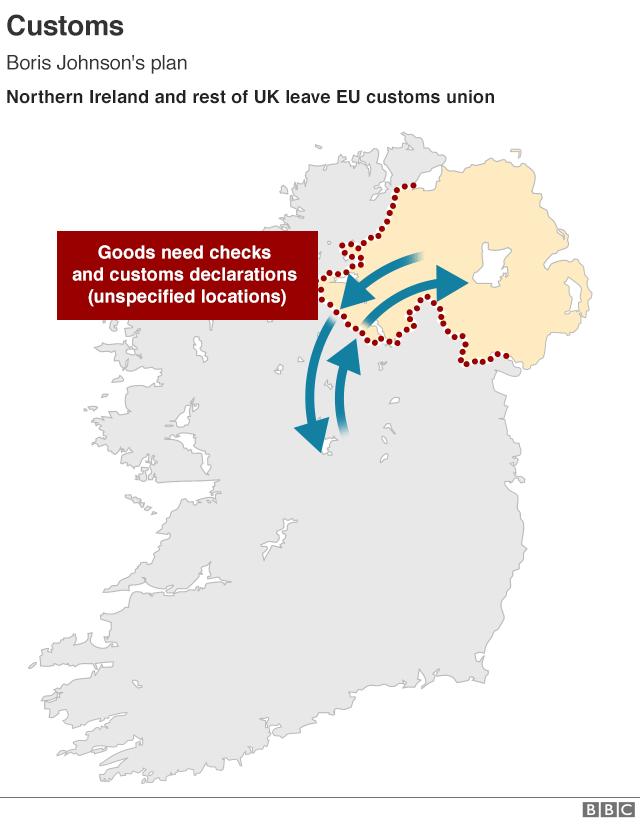 Map showing Irish border with Northern Ireland