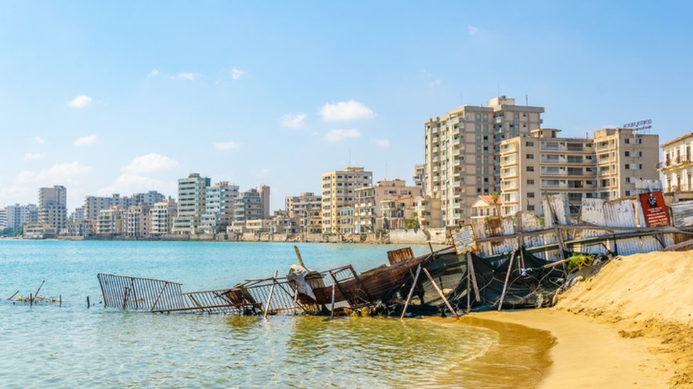 Ruins of hotels at Varosha district of Famagusta, Cyprus