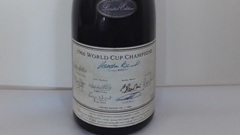Champagne bottle signed by 1966 World Cup winners to be auctioned