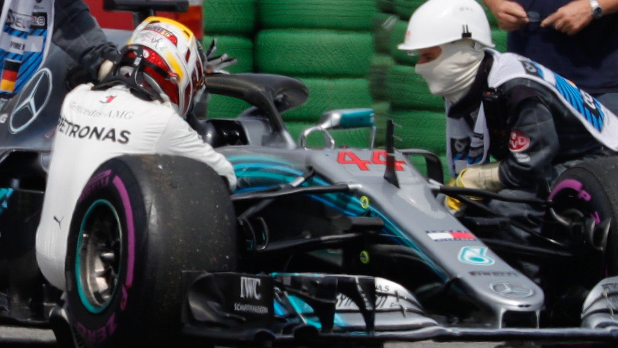 German GP: Sebastian Vettel on pole as Lewis Hamilton suffers hydraulic failure