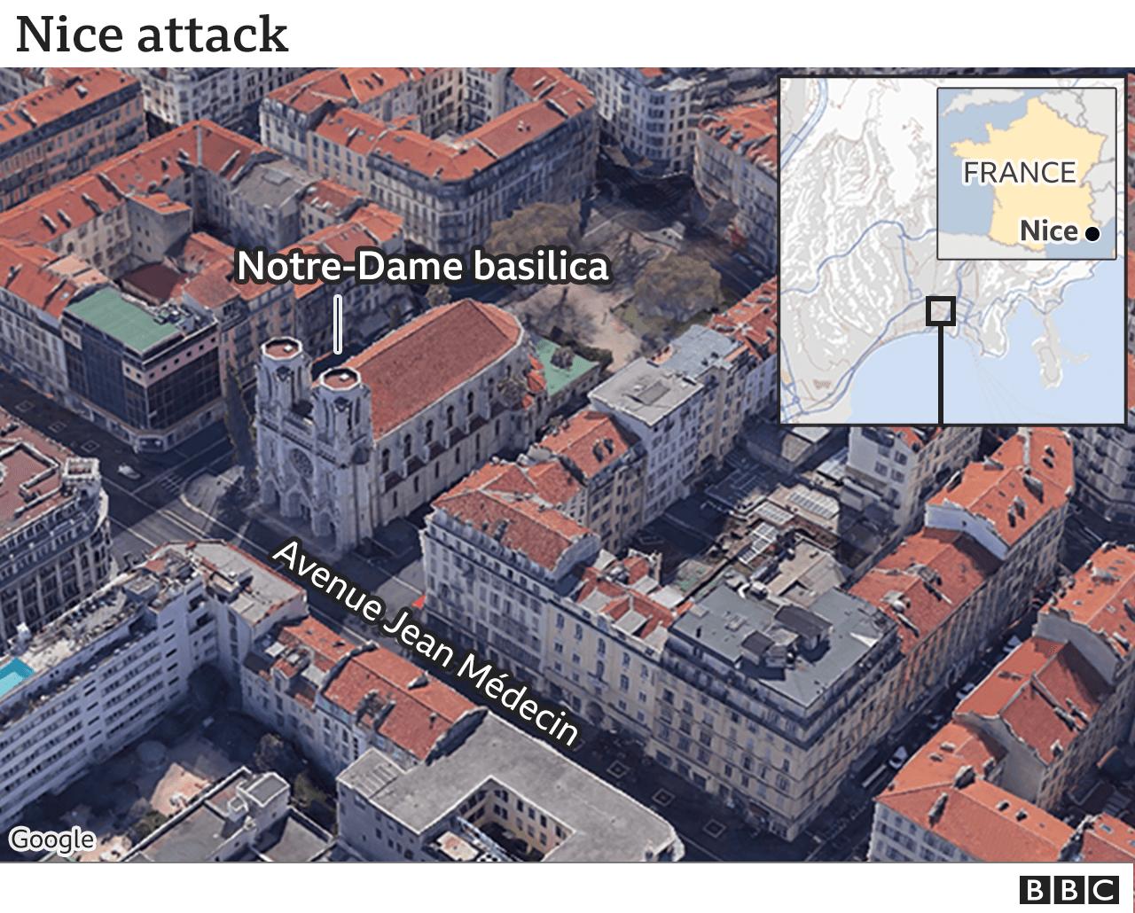 Map of Nice basilica