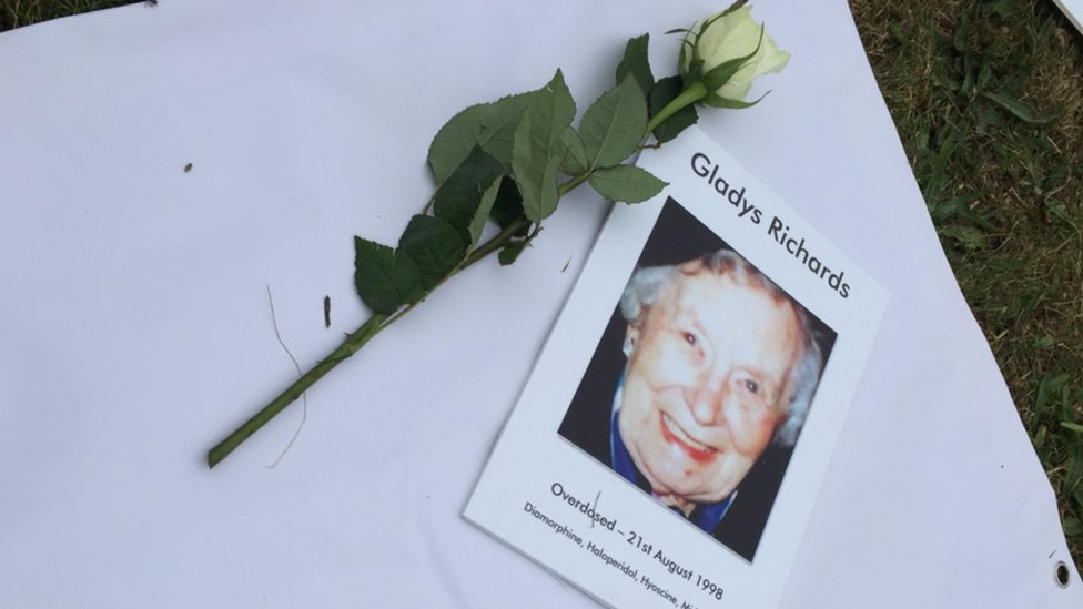 Family tribute outside Portsmouth Cathedral to Gladys Richards