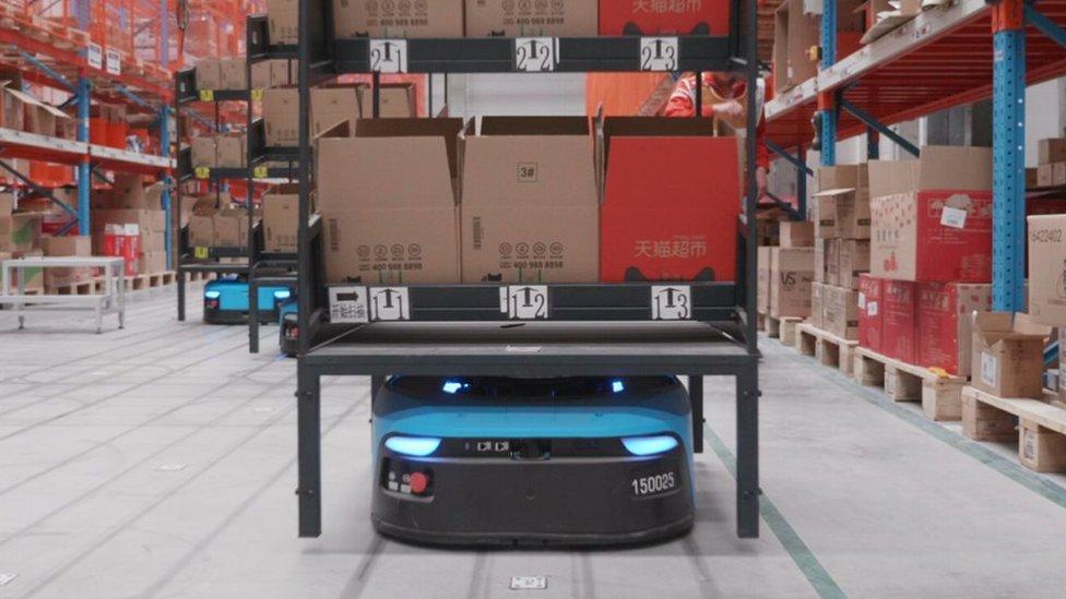 Robot en el almacén de Cainiao Network