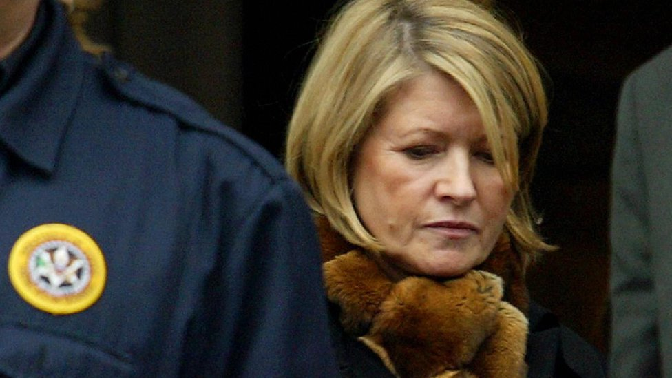 Martha Stewart leaves the US Federal Courthouse after being found guilty on charges of conspiracy, obstruction of justice and two counts of making false statements to federal investigators, 5 March 2004