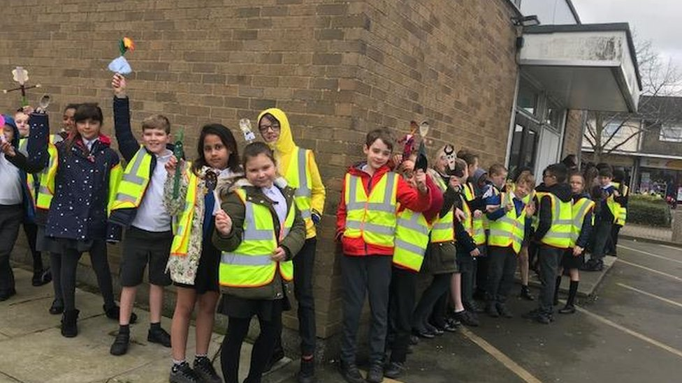 Pupils outside Galleywood Library
