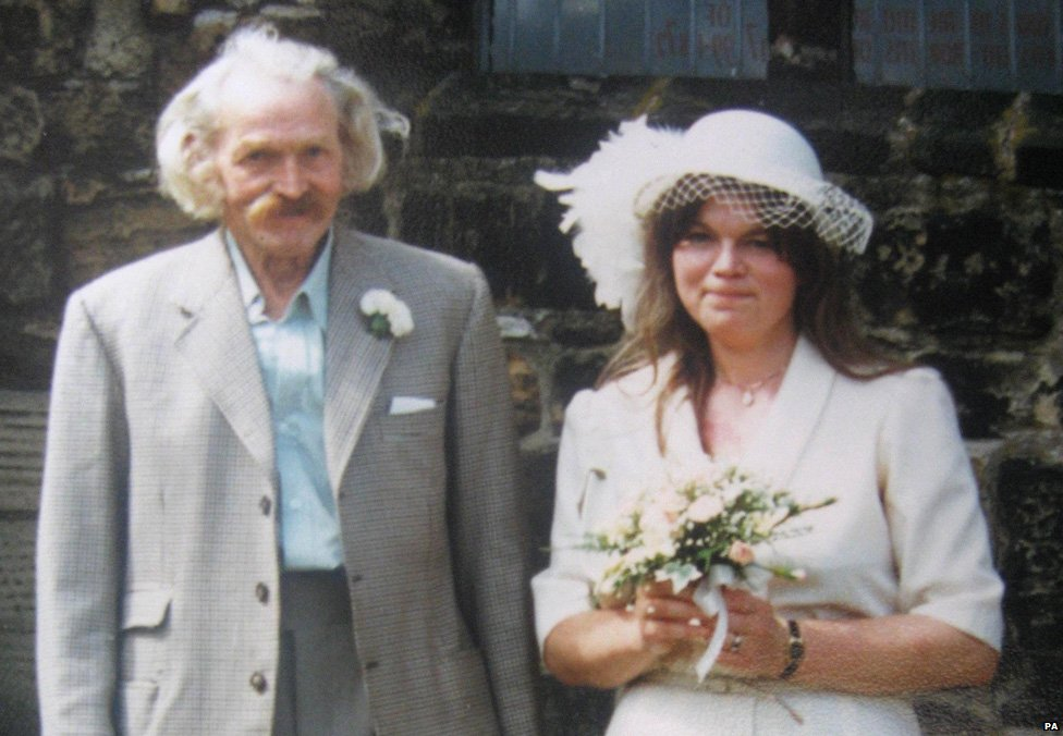 John Gill with his daughter Dr Christine Gill on her wedding day