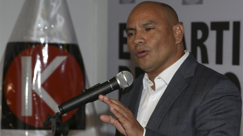 General Secretary of the Popular Force (FP) party, Joaquin Ramirez speaks during a press conference in Lima, Peru, 17 May 2016.