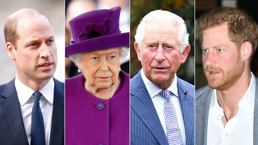 Prince William, the Queen, Prince Charles, Prince Harry