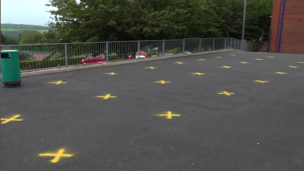 Yellow crosses marked in playground