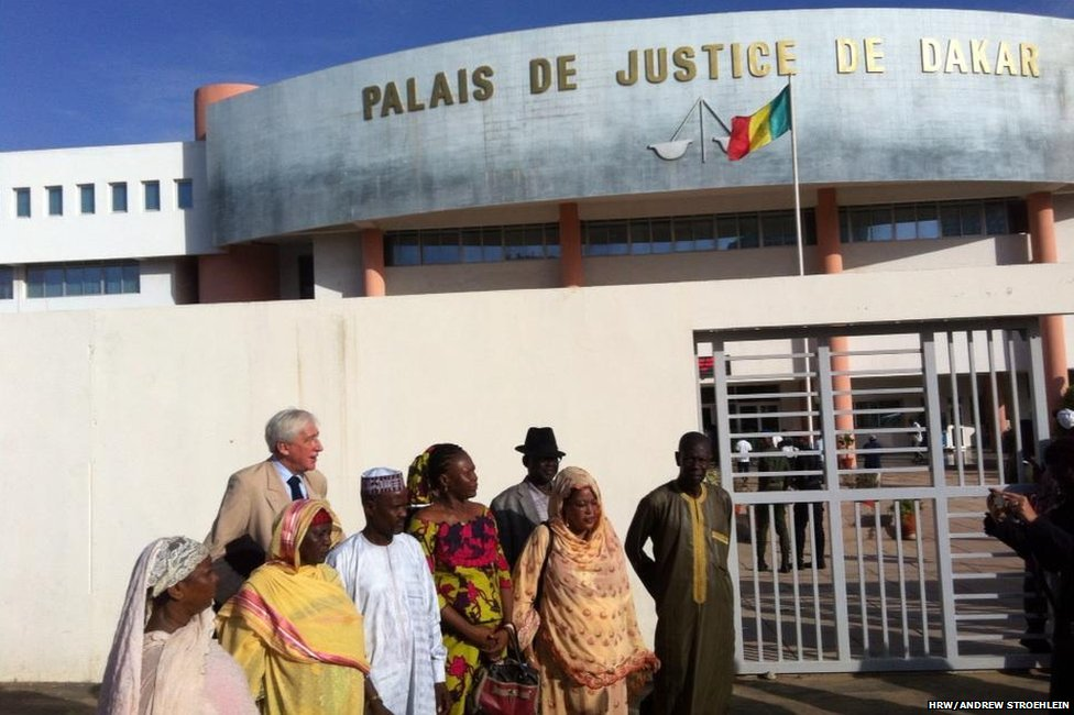 alleged victims outside the court in dakar